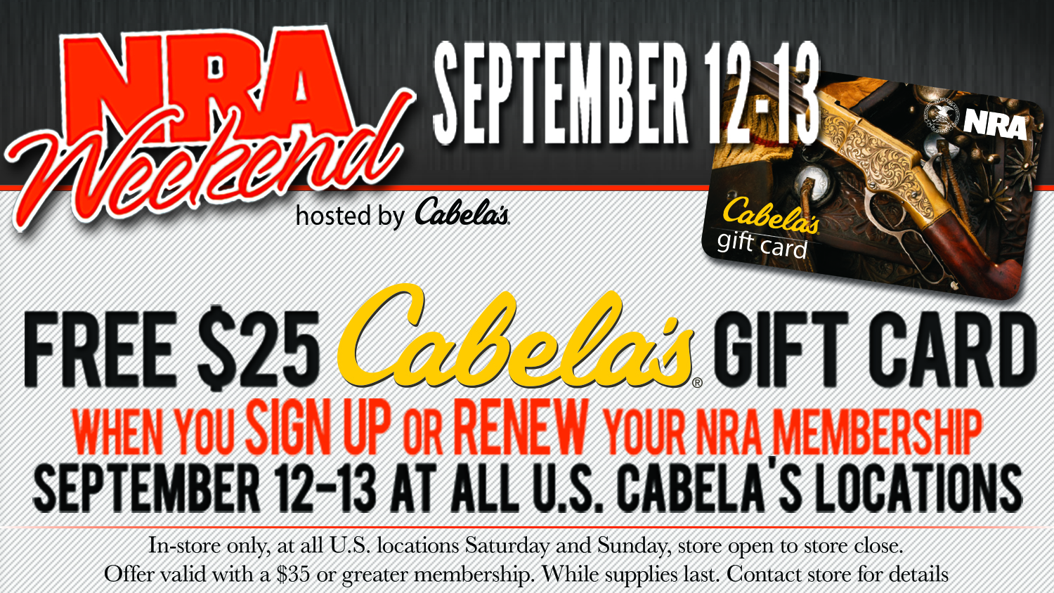 NRA Blog | Cabela's Hosts NRA Weekend This Sept. 12-13