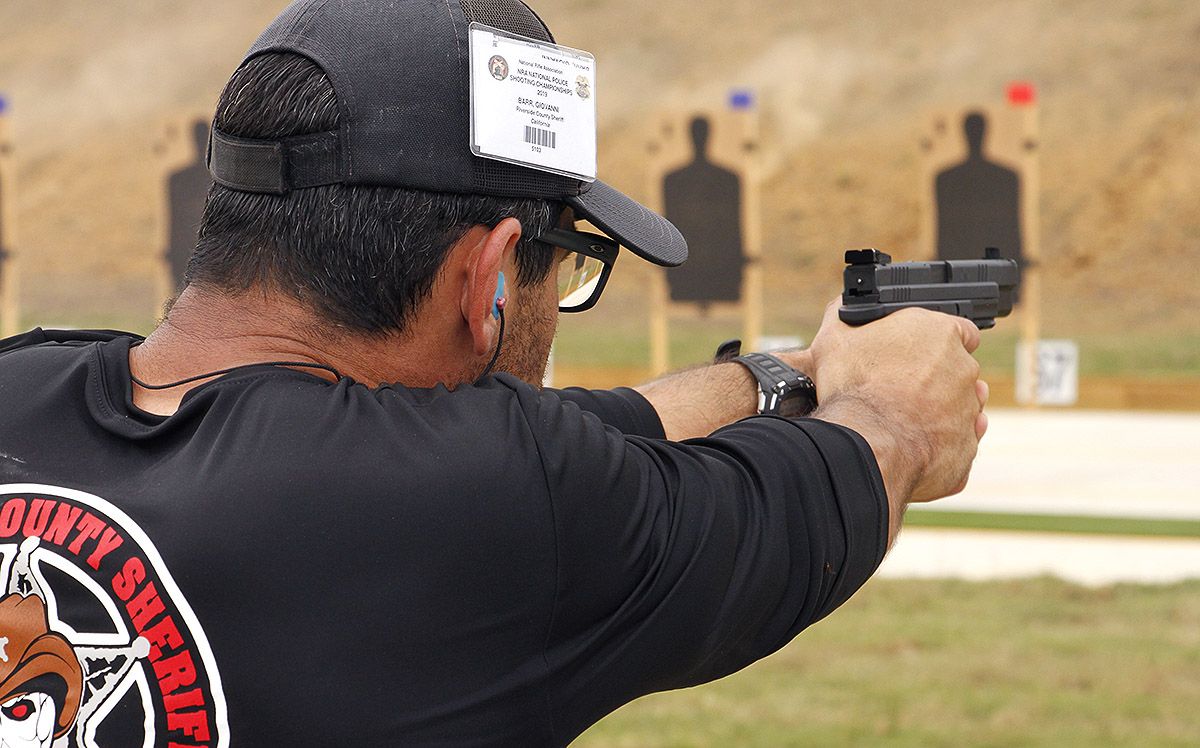 Raising the Riverside County Sheriff's Barr at NRA's National Police Shooting Championship